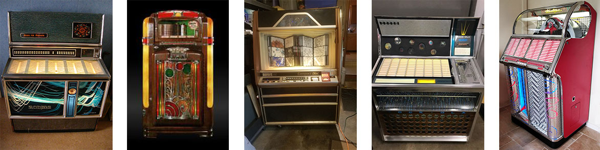 Pictures form service calls on Wurlitzer Zodiac 3500 from the 70's, Wurlitzer bubler jukebox, Rowe CD Jukebox, 70's vintage jukebox and 50s vintage red jukebox.